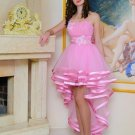 Pink High Low Homecoming Dress, One Shoulder Chiffon Homecoming Dress