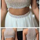White Halter Homecoming Dress, Beadings Homecoming Dress