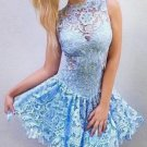 Blue Lace Sexy Homecoming Dress, Strapless Homecoming Dress