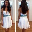 Deep V Neck Beadings Homecoming Dress, Chiffon Homecoming Dress