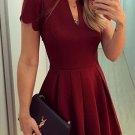 Burgundy Short Sleeve Homecoming Dress, V Neck Homecoming Dress