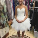 Beaded Sequins Luxurious White Homecoming Dresses Puffy Short Prom Dress