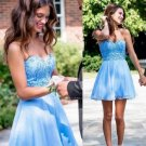 Short A-Line Homecoming Dresses Blue Tulle Off The Shoulder Graduation Dresses