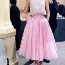 Pink A Line Homecoming Dresses 2017 High Collar Evening Dress Tea Length Tulle