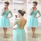 Mint Lace Backless Homecoming Dress, Chiffon Homecoing Dress