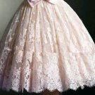Pink Bowknot Lace Homecoming Dress, Strapless Homecoming Dress