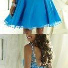 Blue Chiffon Beadings Homecoming Dress, Sexy Homecoming Dress