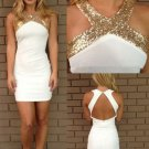Silk-like Satin Sexy Scoop White SheathColumn Neck Sequins Backless Prom Dress