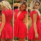 Lace Ruffles with Cap ShortMini Red Straps V-neck Prom Dresses