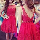 Tulle with Applique Short Mini Lace Scoop Neck Open Back Red Homecoming  Dresses
