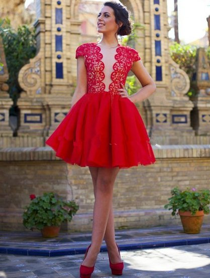 Tulle Scoop Neck ShortMini Cap Straps Casual Red Lace Homecoming  Dress