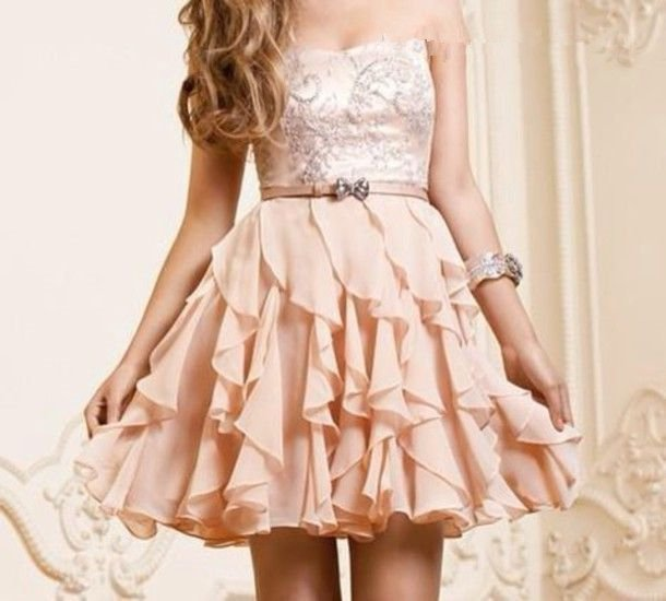 Pink A-line Scopp Neckline Mini Short Pearl Prom Homecoming Dress