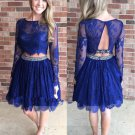 Scoop Neck Lace Knee-length Two Piece A-line Beading Long Sleeve Homecoming Dresses