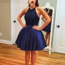 Elastic Woven Satin ShortMini A-line Halter Beading Homecoming  Dresses
