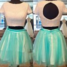 Elastic Women Satin ShortMini Tulle Two Piece Short Sleeves Homecoming Dress