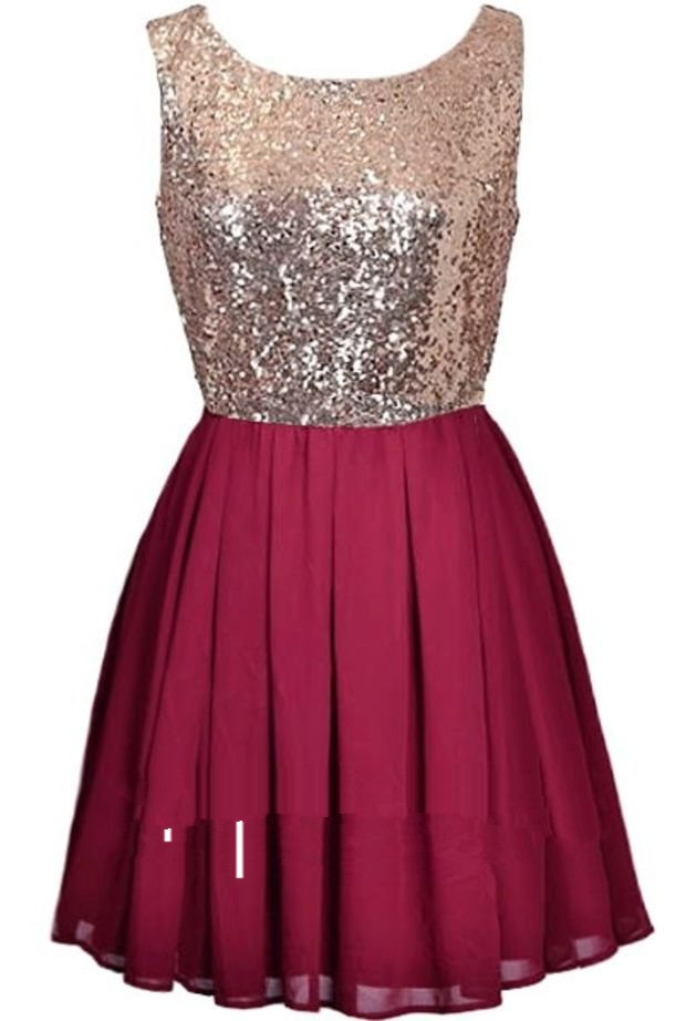 Red Sequins Homecoming Dress, Chiffon Homecoming Dress