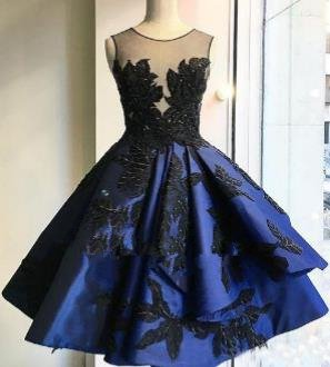 Navy Blue Appliques Homecoming Dress, Sexy Homecoming Dress