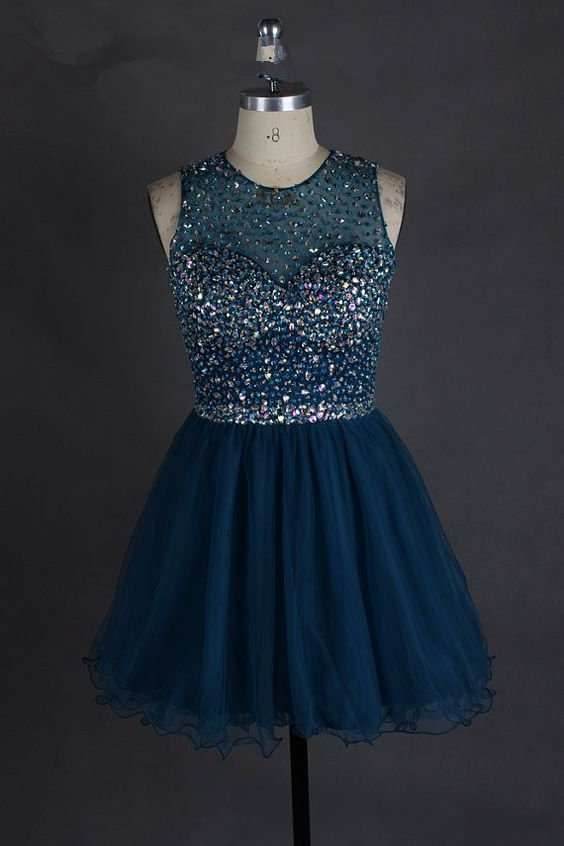 Navy Blue Crystal Homecoming Dress, Chiffon Homecoming Dress