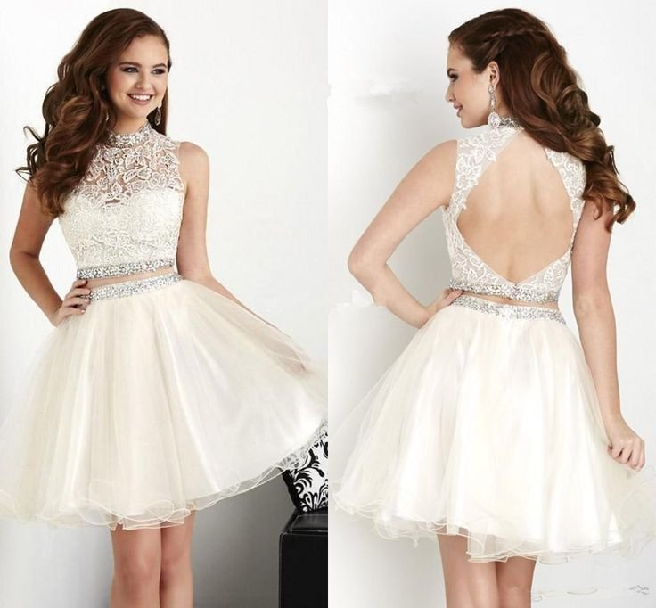 White Lace Chiffon Homecoming Dress, Cute Homecoming Dress