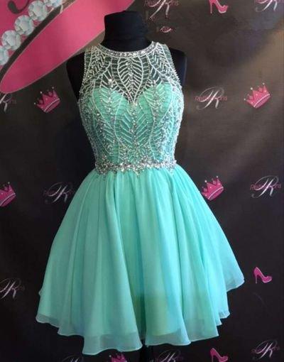 Mint Chiffon Homecoming Dress, Strapless Homecoming Dress