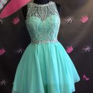 Mint Chiffon Homecoming Dress, Strapless Homecoming Dress