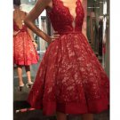 Deep V Neck Lace Homecoming Dress, Red Homecoming Dress