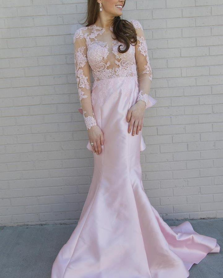 903203ad0b01 Long Sleeve Blush Pink Lace Prom Dress with Sweep Train