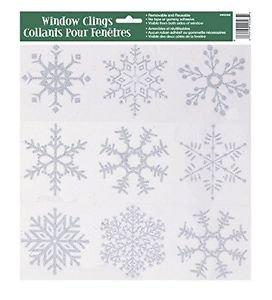 Silver Glitter Snowflake Window  Sheet