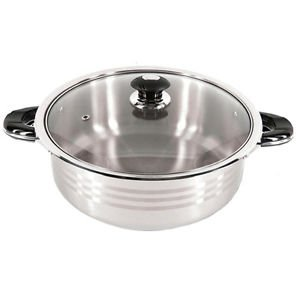 10 Quart Stainless Steel Shallow Pot Kitchen Cooking