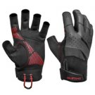 Mustang Traction Open Finger Glove - Black/Red - Large