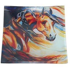 Square Dinner Plate Dishware with Wild Wind Stallion Horse Design