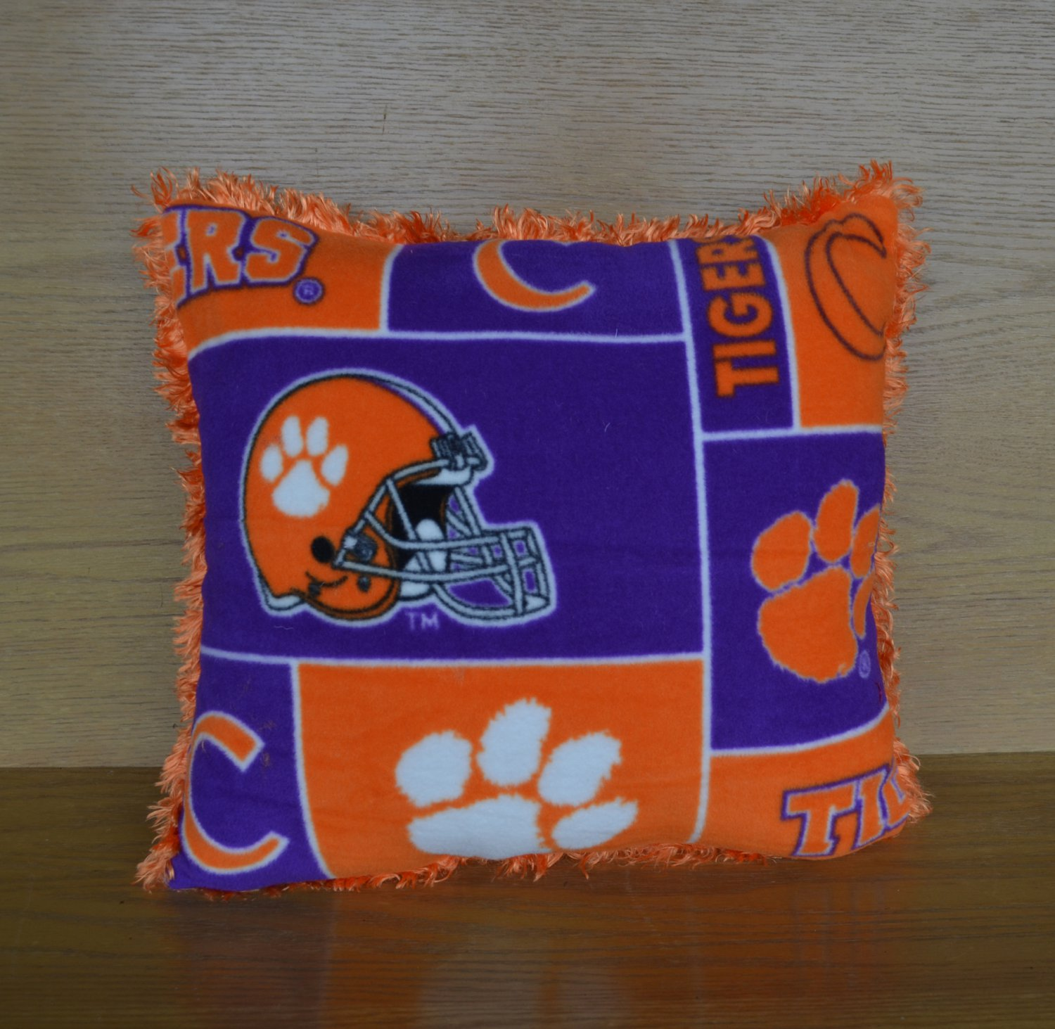 ACC Clemson University Furry Fleece College Dorm RV Man Cave Throw Pillow Tailgating Fun