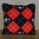 NEW Handmade SEC UGA GEORGIA BULLDOGS NCAA Argyle FLEECE and FUR Throw PILLOW