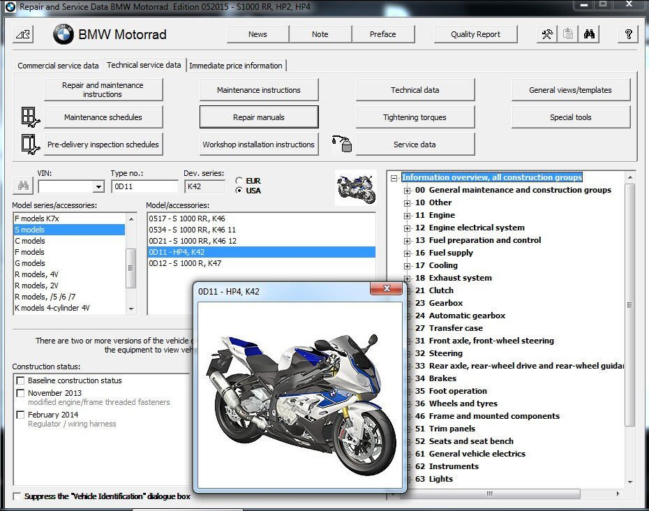 BMW HP4 Motorcycle RepROM Service Manual on a DVD -- S1000RR