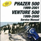 1999-2001 Yamaha Phazer PZ500C Venture VT500XLC Snowmobile Service Manual CD