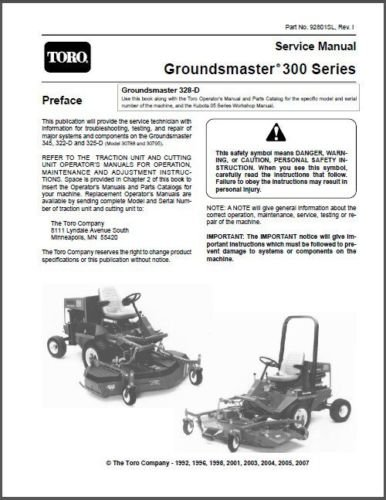 TORO Groundmaster 345, 322-D & 325-D Rotary Mower Service Repair Manual CD