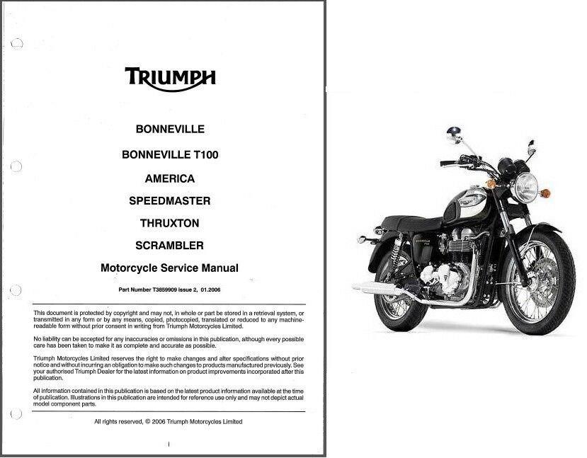 Triumph Bonneville T100 Thruxton Scrambler America Speedmaster Service Manual CD