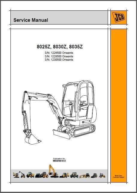 JCB 8025Z 8030Z 8035Z Mini Excavator Service Repair Workshop Manual CD