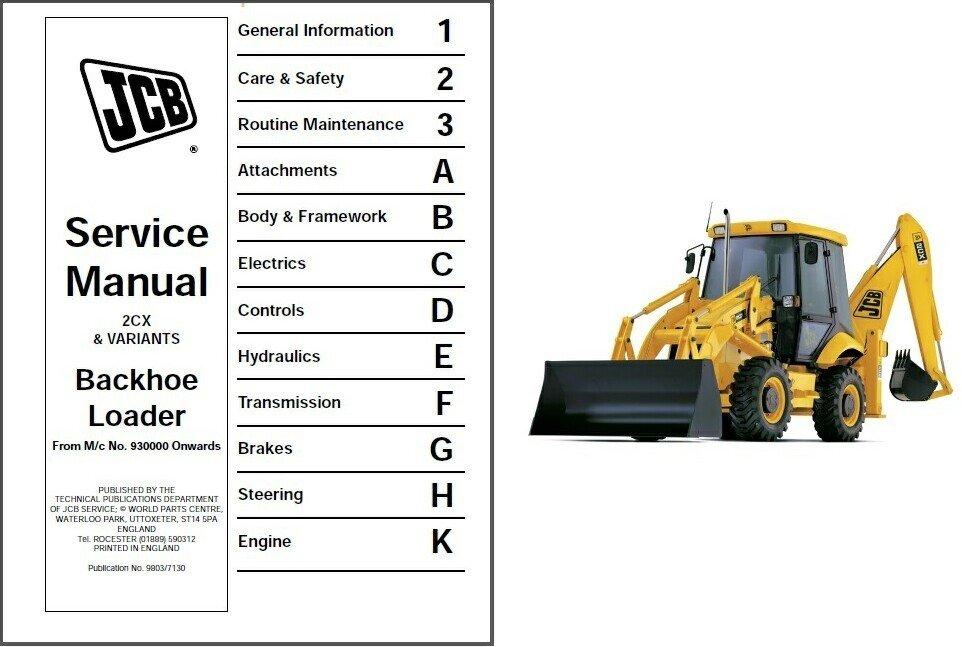JCB 2CX Backhoe Loader Tractor Service Repair Manual CD   - 2 CX