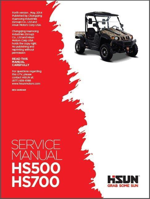 Hisun HS500 HS700 UTV Service / Maintenance Manual CD - HS500UTV HS700UTV 500 700