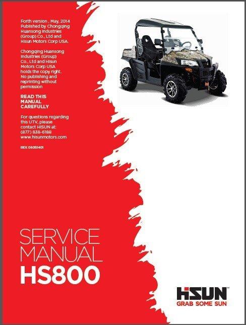 Hisun HS800 UTV Service / Maintenance Manual CD - HS800UTV 800