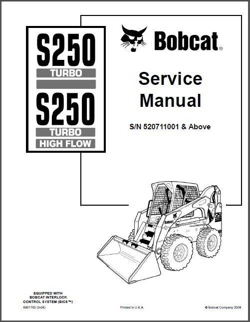 Bobcat S250 Turbo / High Flow Skid Steer Loader Service Repair Manual CD - S 250