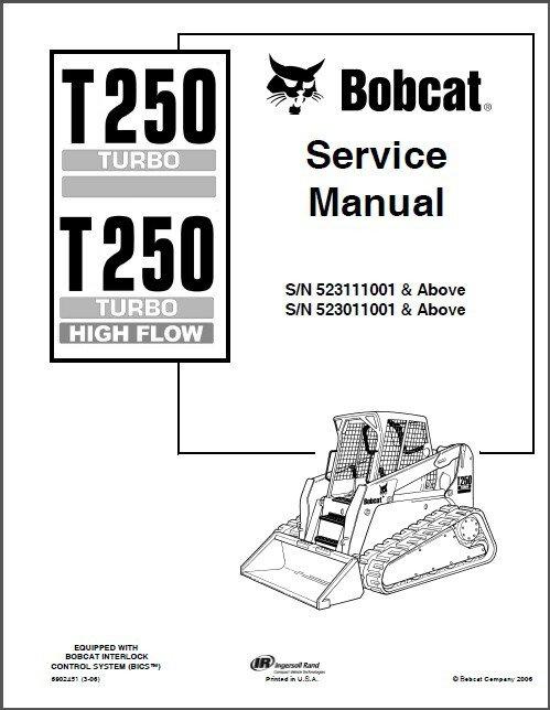 Bobcat T250 Turbo / Turbo High Flow Skid Steer Loader Service Repair Manual CD