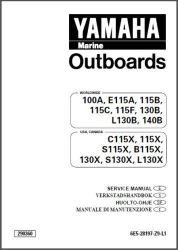 Yamaha 100 115 130 140 HP 2-Stroke Outboard Motors Service Manual on a CD