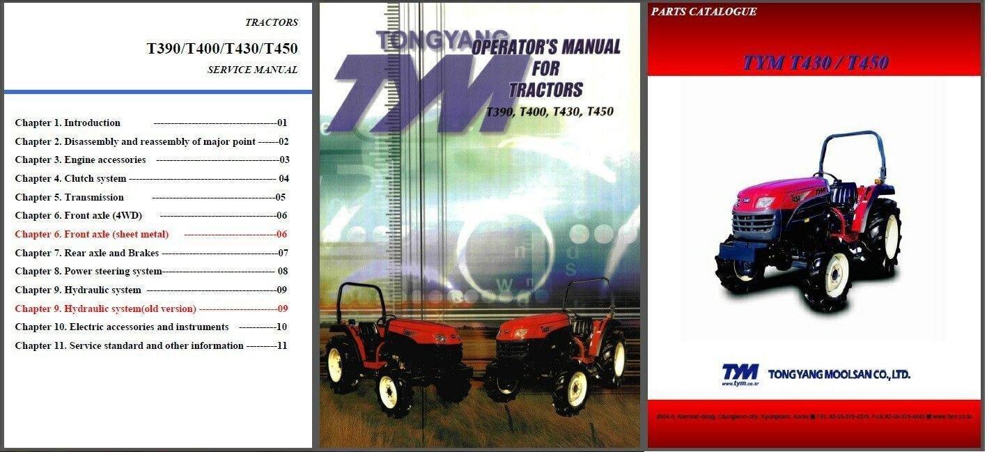 TYM T390 T400 T430 T450 Tractor Repair Service & Parts Manual CD - T 390 400 430