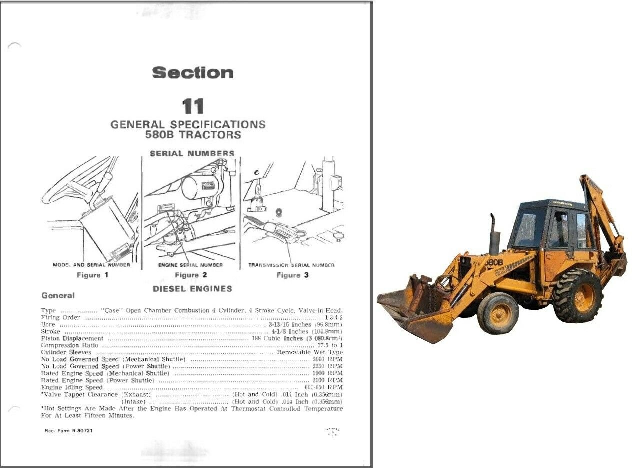 Case 580B Construction King Backhoe Loader Tractor Service Repair Manual CD
