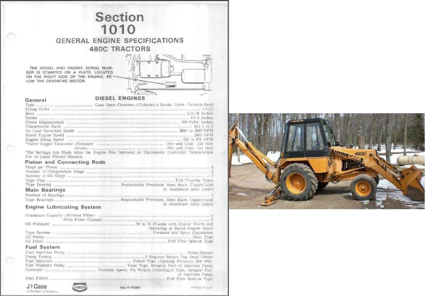 Case 480C Backhoe Loader Tractor Service Repair Workshop Manual CD - 480 C