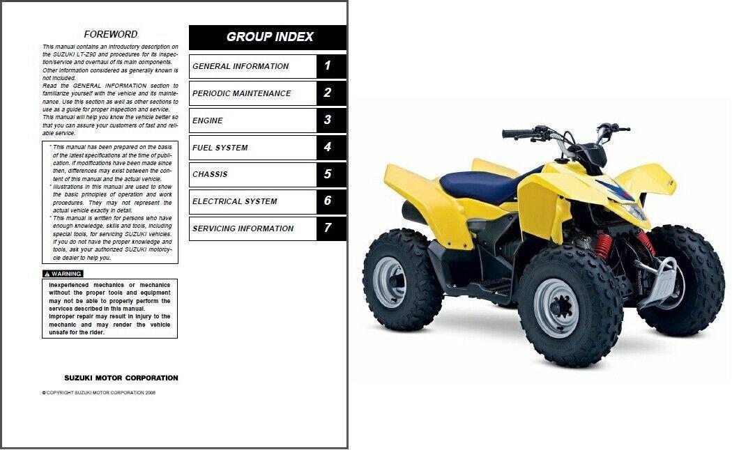 2007-2008-2009 Suzuki LT-Z90 QuadSport Z90 Service Repair Workshop Manual CD