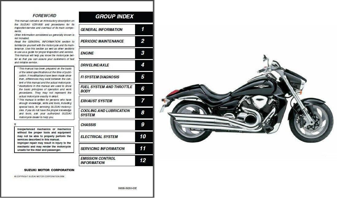 06-09 Suzuki VZR1800 Intruder M1800R / Boulevard M109R Service Repair Manual CD