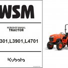 Kubota L3301 L3901 L4701 Tractors WSM Service Manual on a CD